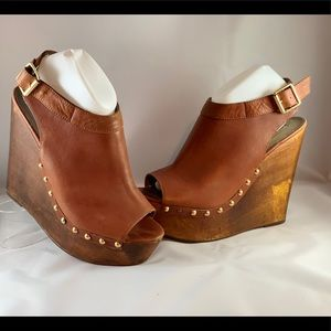 Steve Madden Leather Wedges Size 11 CLR:Brown